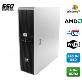 Pc HP Compaq DC5750 Sff AMD 2GHz 4Go DDR2 240Go SSD DVD WIFI Windows XP