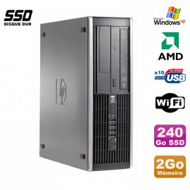 PC HP Compaq 6005 Pro SFF AMD 3GHz 2Go DDR3 240Go SSD Graveur WIFI Windows Xp