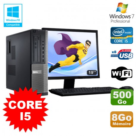 Lot PC Dell 3010 DT Core I5 3.1Ghz 8Go 500Go Graveur WIFI Win 7 + Ecran 19""
