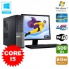 Lot PC Dell 3010 DT Core I5 3.1Ghz 8Go 500Go Graveur WIFI Win 7 + Ecran 22""