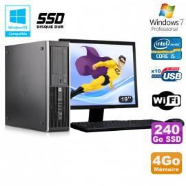 Lot PC HP Elite 8300 SFF I5-3470 3.2GHz 4Go 240Go SSD Graveur Wifi W7 + Ecran 19