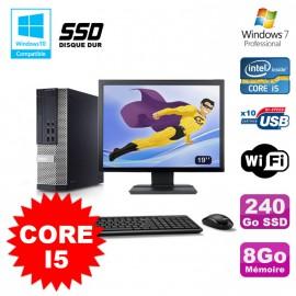 """Lot PC Dell 7010 SFF Core I5 2400 3.2GHz 8Go 240Go SSD Wifi W7 + Ecran 19"""""""