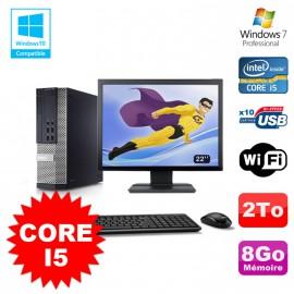 """Lot PC Dell 7010 SFF Core I5 2400 3.2GHz 8Go Disque 2To Wifi W7 + Ecran 22"""""""