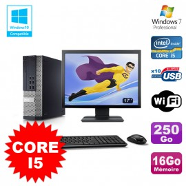"""Lot PC Dell 7010 SFF Core I5 2400 3.2GHz 16Go Disque 250Go Wifi W7 + Ecran 17"""""""