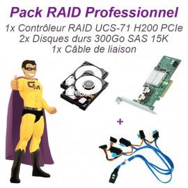 Lot 2 disques 300Go SAS 15K + Carte PERC H200 UCS-71 PCIe Raid Controller +Câble