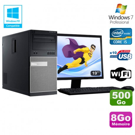 Lot PC Tour Dell 790 Core I5 3.1Ghz 8Go Disque 500Go DVD WIFI Win 7 + Ecran 19""