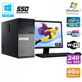 Lot PC Tour Dell 7010 I5-3470 3.2Ghz 4Go 240Go SSD DVD WIFI Win 7 + Ecran 19