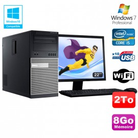 Lot PC Tour Dell 7010 Core I5-3470 3.2Ghz 8Go 2To DVD WIFI Win 7 + Ecran 22