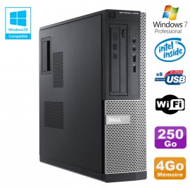 PC DELL Optiplex 3010 DT Intel G2020 2.9Ghz DVD 4Go 250Go HDMI Wifi Win 7 Pro
