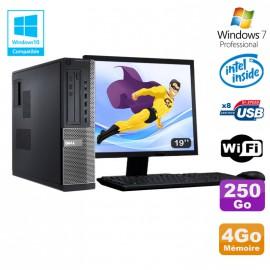 """Lot PC DELL 3010 DT Intel G2020 DVD 4Go Disque 250Go HDMI Wifi Win 7 + Ecran 19"""""""