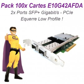 Lot 100x Carte Réseau 10 Gigabit AF DA Dual Port SFP+ E10G42AFDA PCIe Low Profile