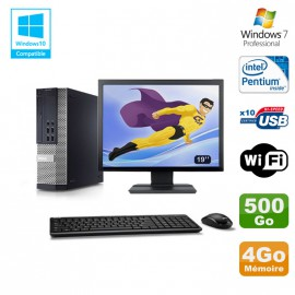 Lot PC DELL Optiplex 7010 SFF G870 DVD 4Go Disque 500Go Wifi Win 7 + Ecran 19""