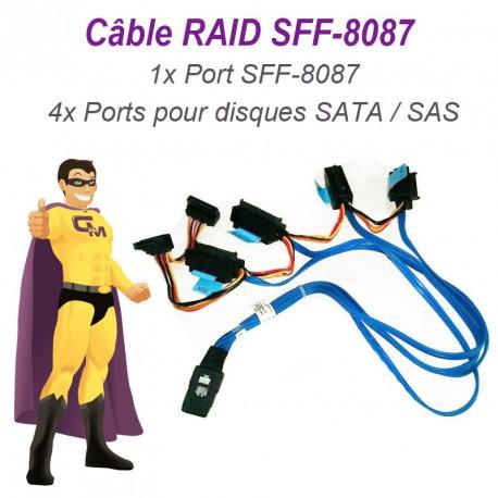 Câble Nappe SFF-8087 Carte DELL SAS SATA 042N7H Disque dur RAID UCS-71