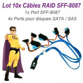 Lot 10 Câbles Nappes SFF-8087 Carte DELL SAS SATA 042N7H Disque dur RAID UCS-71