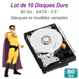 "Lot de 10 Disques durs 3.5"" 80Go SATA Western Digital Hitachi Samsung Seagate"