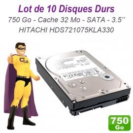 """Lot 10x Disques Durs 750Go Hitachi 3.5"""" SATA Deskstar HDS721075KLA330 32Mo 7200"""