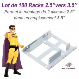 "Lot 100 Racks Adaptateurs 2 Disques 2.5"" vers 3.5"" BERCEAU HDD SSD CADDY BRACKET"