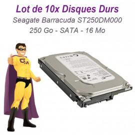 """Lot 10 x Disque Dur 250Go Seagate Barracuda ST250DM000 3.5"""" Sata III 16Mo 7200"""