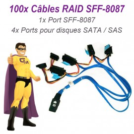 Lot 100 Câbles Nappes SFF-8087 Carte DELL SAS SATA 042N7H Disque dur RAID UCS-71