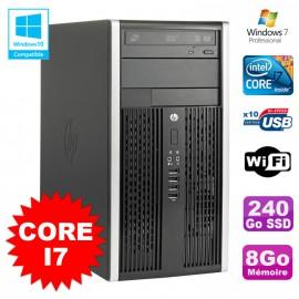 PC Tour HP Elite 8200 Core I7 3,4Ghz 8Go Disque 240Go SSD Graveur WIFI Win 7