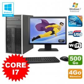 Lot PC Tour HP Elite 8200 Core I7 3,4Ghz 4Go 500Go Graveur WIFI W7 + Ecran 17