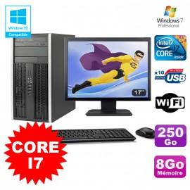 Lot PC Tour HP Elite 8200 Core I7 3,4Ghz 8Go 250Go Graveur WIFI W7 + Ecran 17