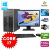 Lot PC Tour HP Elite 8200 Core I7 3,4Ghz 16Go 500Go Graveur WIFI W7 + Ecran 19