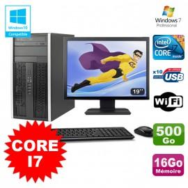 Lot PC Tour HP Elite 8200 Core I7 3,4Ghz 16Go 500Go Graveur WIFI W7 + Ecran 19