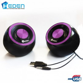 Haut-Parleurs / Enceintes USB Heden SPK170UCV0 5W Violet Pour Pc Mac et Linux