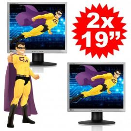 """Lot DUAL SCREEN 2 Ecrans Plats PC 19"""" LG L1942PE LCD 1280x1024 5:4 VGA VESA DVI-D"""