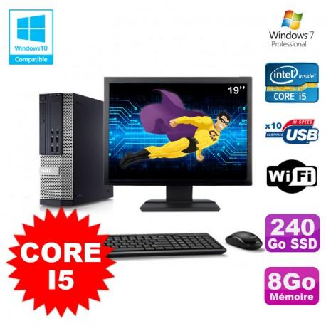 Lot PC DELL Optiplex 790 SFF Intel Core I5 3,1Ghz 8Go 240Go SSD WIFI W7 + Ecran 19