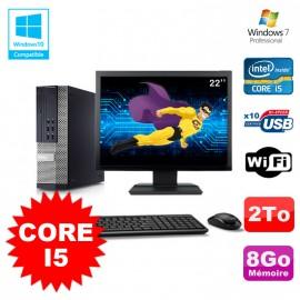 Lot PC DELL Optiplex 790 SFF Intel Core I5 3,1Ghz 8Go 2To WIFI W7 + Ecran 22