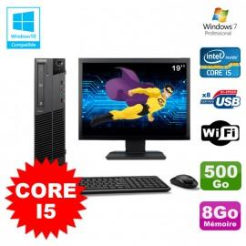 Lot PC Lenovo M91p 7005 SFF Core I5 3,1Ghz 8Go 500Go WIFI W7 Pro + Ecran 19