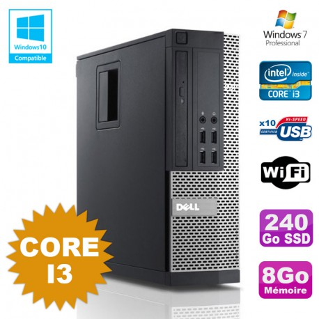 PC Dell Optiplex 7010 SFF Core I3 3.1GHz 8Go 240Go SSD DVD Wifi W7