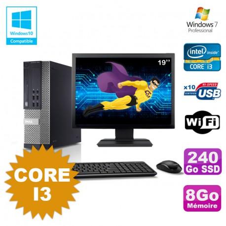 Lot PC Dell Optiplex 7010 SFF Core I3 3.1GHz 8Go 240Go SSD DVD Wifi W7 +Ecran 19