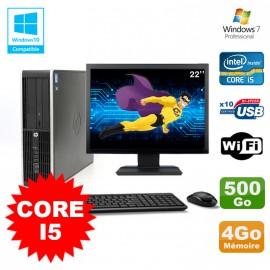 "Lot PC HP Elite 8200 SFF Core I5 3.1GHz 4Go 500Go DVD WIFI W7 + Ecran 22"""