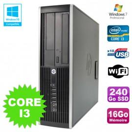 PC HP Elite 8200 SFF Intel Core I3 3.1GHz 16Go Disque 240Go SSD DVD WIFI W7
