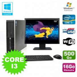 "Lot PC HP Elite 8200 SFF Core I3 3.1GHz 16Go 500Go DVD WIFI W7 + Ecran 19"""
