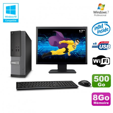 "Lot PC Dell Optiplex 3020 SFF Intel G3220 3GHz 8Go 500Go DVD Wifi W7 + Ecran 17"""