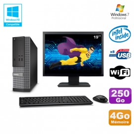"Lot PC Dell Optiplex 3020 SFF Intel G3220 3GHz 4Go 250Go DVD Wifi W7 + Ecran 19"""