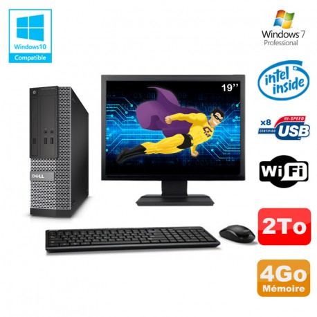 "Lot PC Dell Optiplex 3020 SFF Intel G3220 3GHz 4Go 2To DVD Wifi W7 + Ecran 19"""
