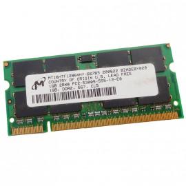 1Go RAM PC Portable SODIMM Micron MT16HTF12864HY-667B3 PC2-5300U DDR2 667MHz CL5