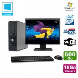 """Lot PC DELL Optiplex 780 Sff E8400 3Ghz 16Go DDR3 500Go WIFI Win 7 Pro + 19"""""""