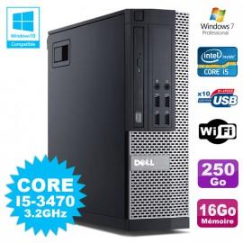 PC Dell 7010 SFF Core I5-3470 3.2GHz 16Go Disque 250Go DVD Wifi W7
