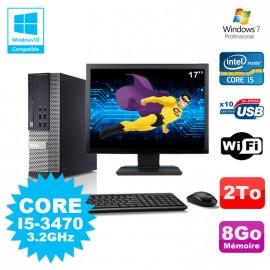 Lot PC Dell 7010 SFF Core I5-3470 3.2GHz 8Go 2000Go DVD Wifi W7 + Ecran 17