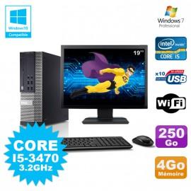 Lot PC Dell 7010 SFF Core I5-3470 3.2GHz 4Go 250Go DVD Wifi W7 + Ecran 19