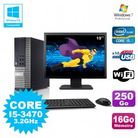 Lot PC Dell 7010 SFF Core I5-3470 3.2GHz 16Go 250Go DVD Wifi W7 + Ecran 19