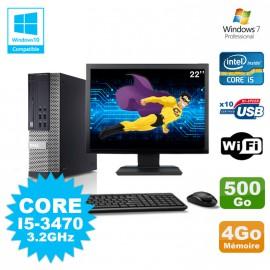 Lot PC Dell 7010 SFF Core I5-3470 3.2GHz 4Go 500Go DVD Wifi W7 + Ecran 22