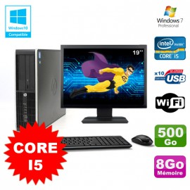 Lot PC HP Elite 8100 SFF Core i5-650 3.2GHz 8Go 500Go Graveur WIFI W7 + Ecran 19