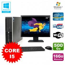 Lot PC HP Elite 8100 SFF Core i5-650 3.2GHz 16Go 500Go Graveur WIFI W7 +Ecran 22
